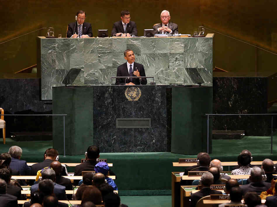 President Obama at the U.N. General Assembly this morning.