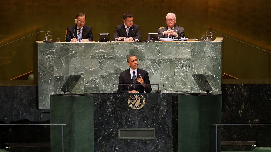 President Obama at the U.N. General Assembly this morning. (Getty Images)