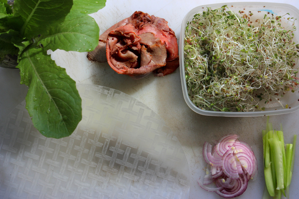 Ingredients for Not-A-Sandwich Summer Rolls, including sliced roast beef
