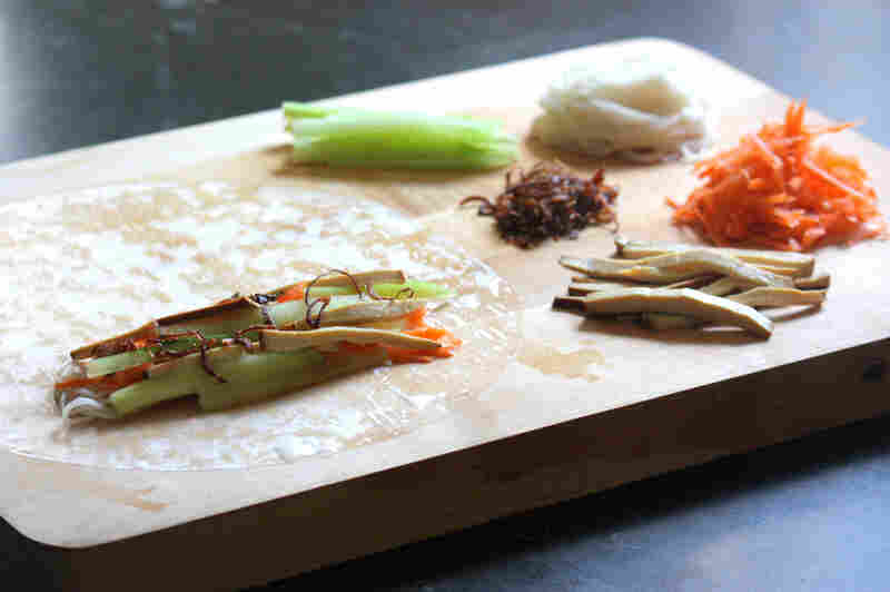 Ingredients for Vegetarian Summer Rolls, ready for rolling in rice paper