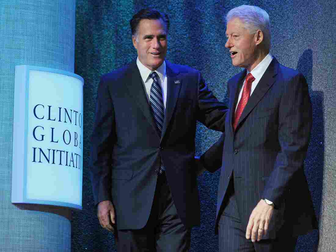 One former president, one would-be: Republican presidential nominee Mitt Romney (left), spoke this morning at former President Bill Clinton's annual forum in New York City. President Obama addresses the Clinton Global Initiative later today.