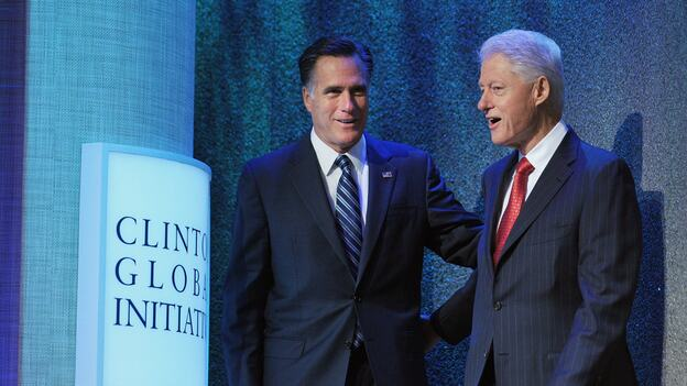One former president, one would-be: Republican presidential nominee Mitt Romney (left), spoke this morning at former President Bill Clinton's annual forum in New York City. President Obama addresses the Clinton Global Initiative later today. (AFP/Getty Images)