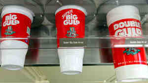 There's no industry standard size for food and drink portions, so it's hard to compare a Big Gulp with a McDonald's medium soda.