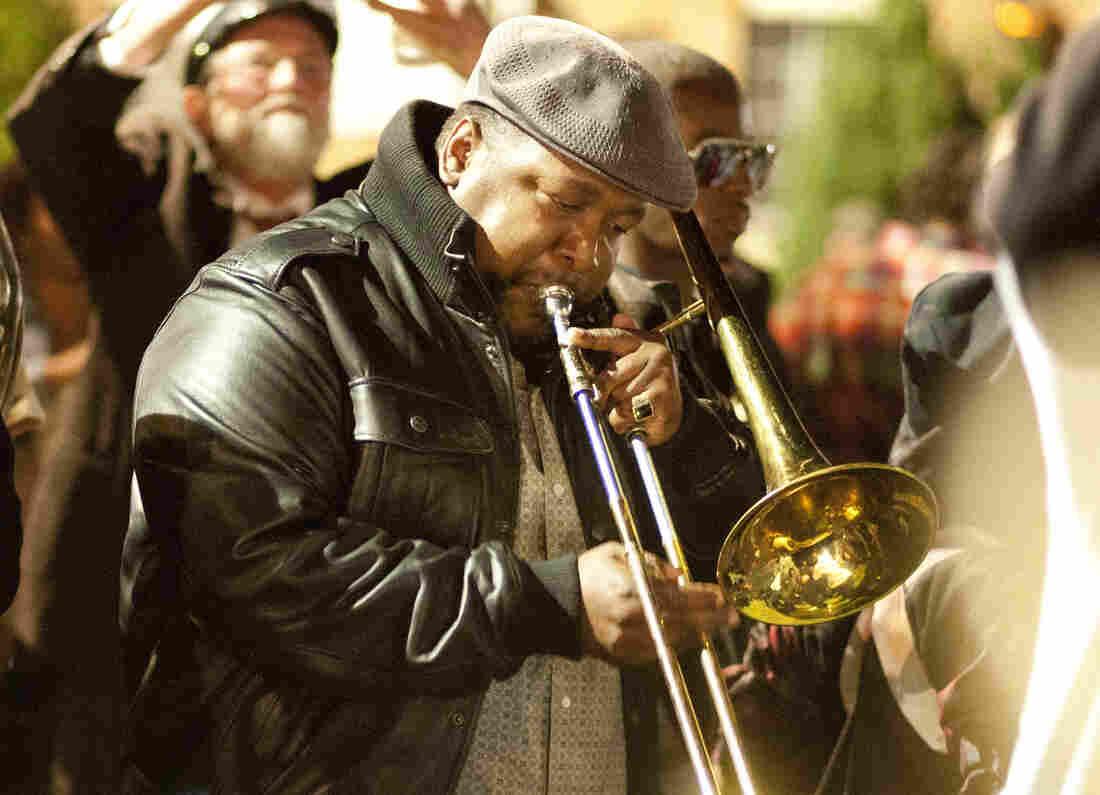 Antoine Batiste (Wendell Pierce) plays in a tribute to tuba player Kerwin James.
