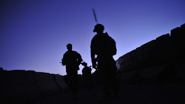 U.S. troops from the 2nd Battalion, 87th Infantry Regiment patrol at dawn in Kandalay, Afghanis