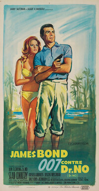 1963: Painted by renowned, Russian-born poster artist Boris Grinsson, this tropical fantasy conveys the tension of Bond and Honey's arrival on Crab Key — Dr. No's Island. Grinsson worked from photographs and his distinctive, painterly style distinguished hundreds of posters for French, American and Italian films. Title translation: James Bond Versus Dr. No.