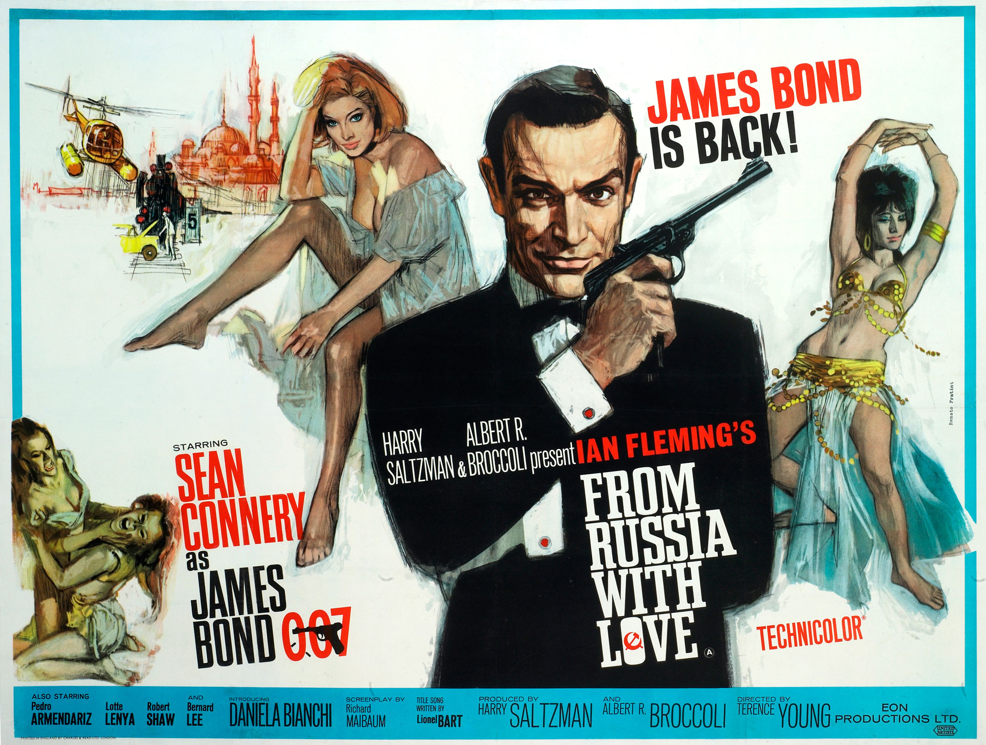 1963: Instead of a Walther PPK, Bond holds a more impressive-looking, long-barreled Walther LP-53 air pistol, which belonged to the photographer. This pose became a famous, instantly recognizable Bond image. The poster was designed by Eddie Paul, with art by Italian film poster artist Renato Fratini.
