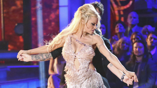 Pamela Anderson performs with Tristan MacManus on Dancing With the Stars: All-Stars. Anderson was the first contestant eliminated on the show this season. (ABC)