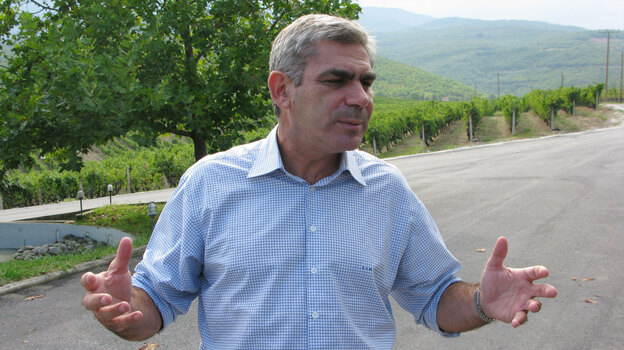 Winemakers like Stellios Boutaris, shown near his vineyard outside Naoussa, Greece, and other business leaders have been forced to pursue new financial tactics because credit is hard to come by. (NPR)