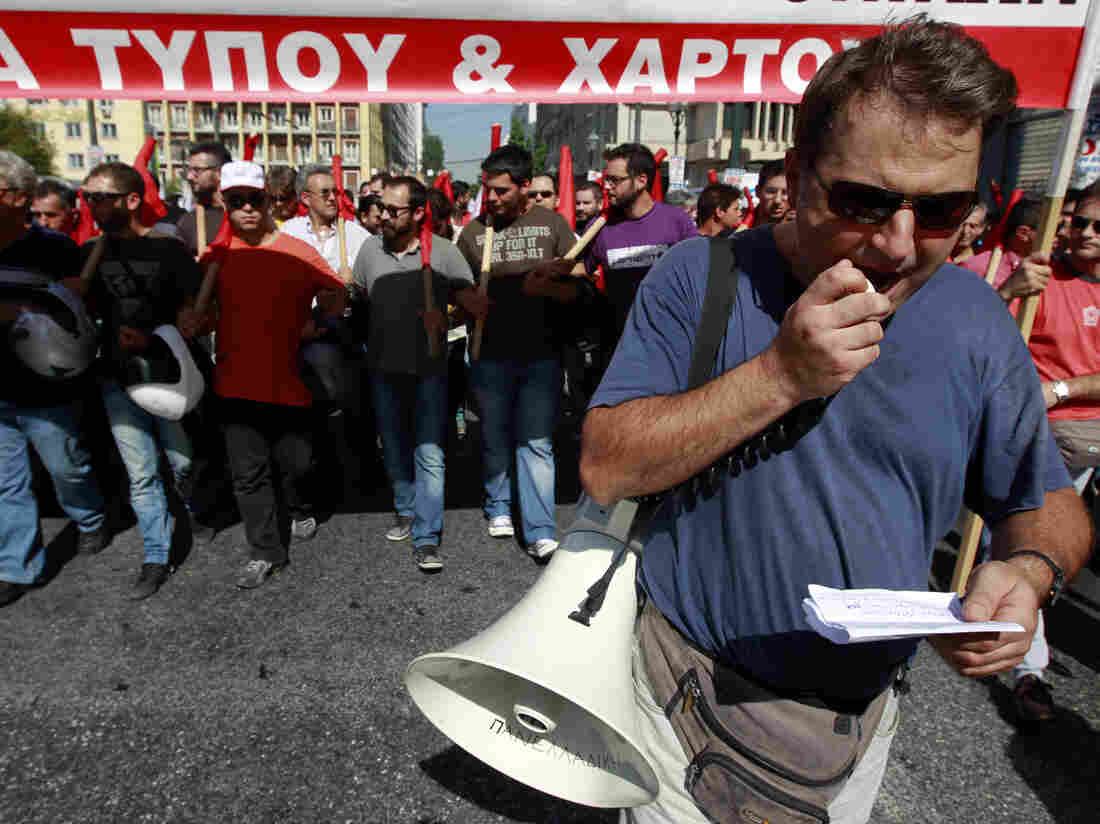 In Athens today, anti-austerity demonstrations began peacefully. Later,
