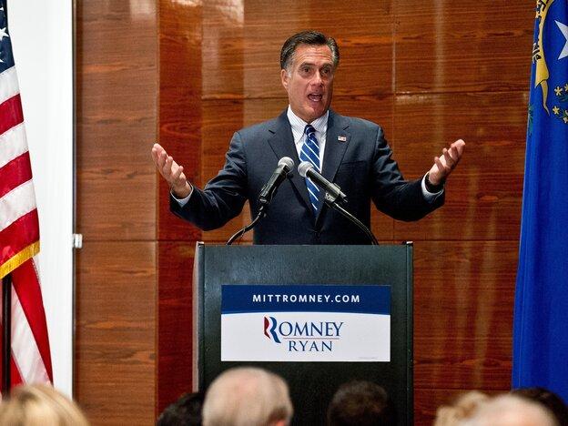 Mitt Romney at a Las Vegas fundraiser last week.