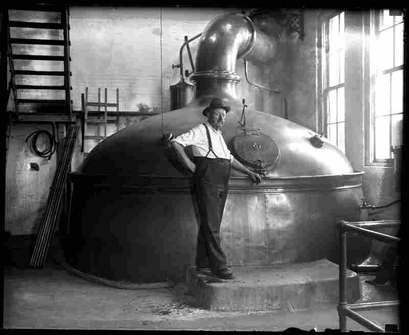Conrad Griesser, brewmaster for Reisch Brewery in Springfield, stands in front of a brew kettle with a 360-barrel capacity. After the repeal of Prohibition in 1933, the Reisch family raised $250,000 to refurbish the plant with new equipment. The State Journal published a package of pictures on July 8, 1934 just as they were reopening. The brewery closed in 1966.