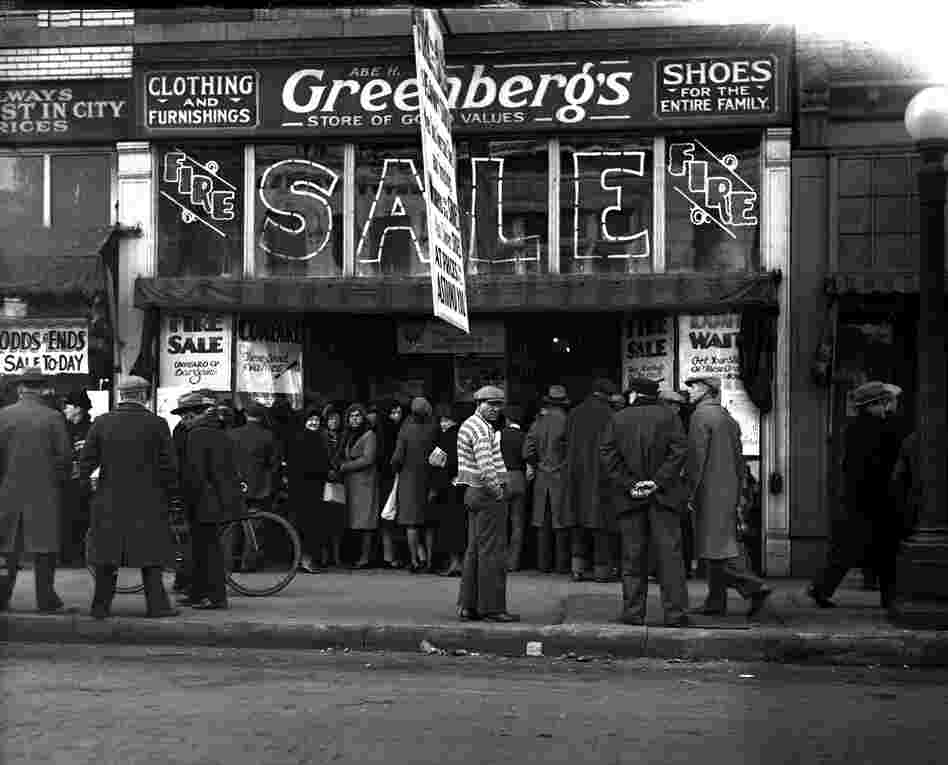 Greenberg's clothing store, fire sale. Date unknown.
