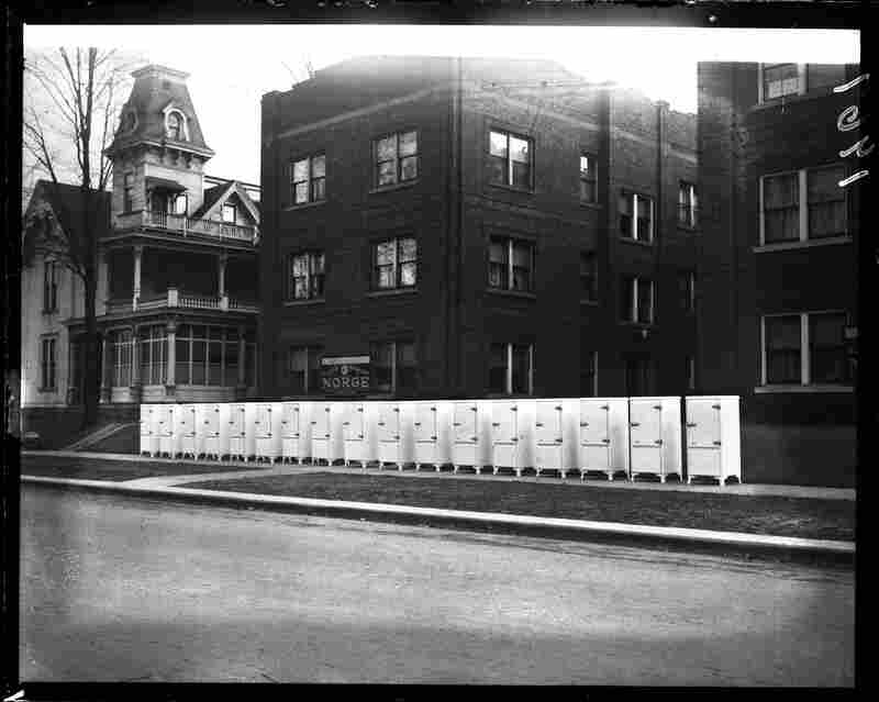Display of new Norge refrigerators to be installed in the Plaza Apartment Building, January 1933.