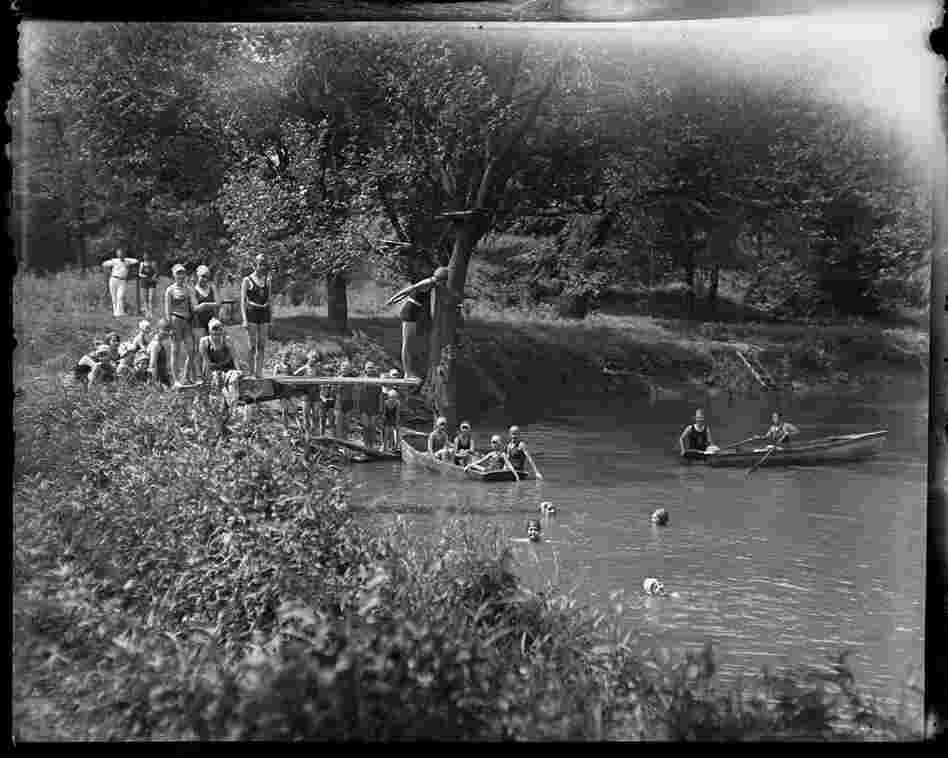 Girl Scouts enjoy a swimming hole at Camp Shuster, July 30, 1929.