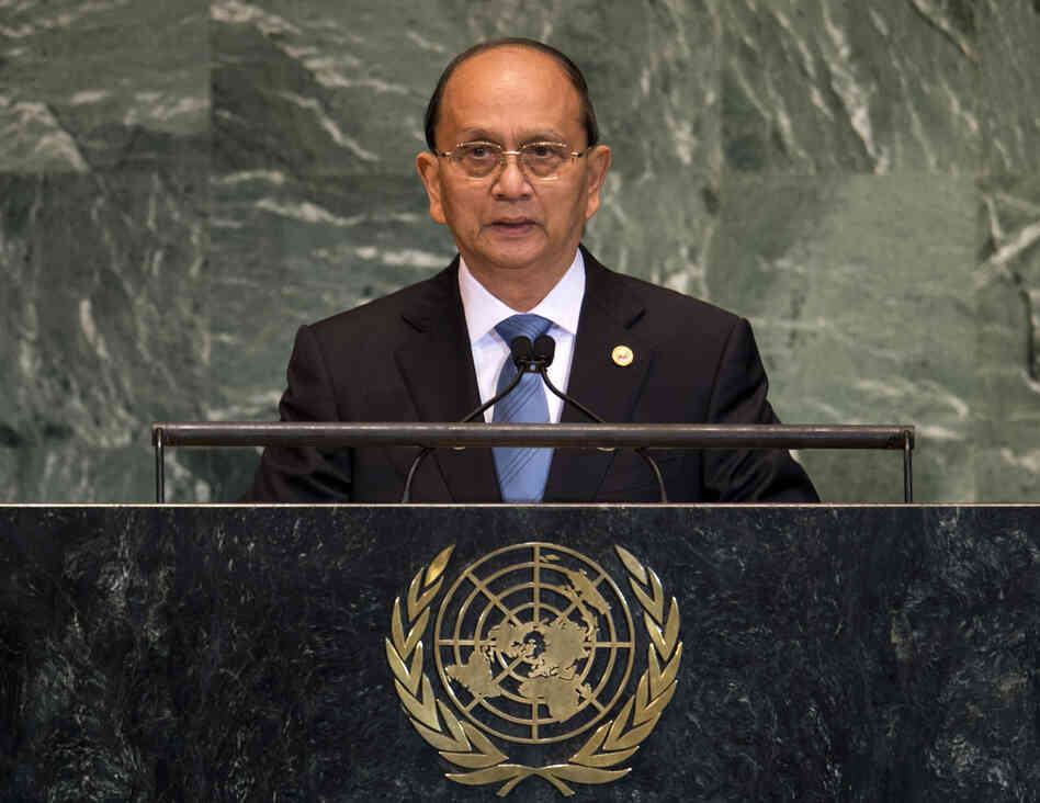 Myanmar President Thein Sein addresses t