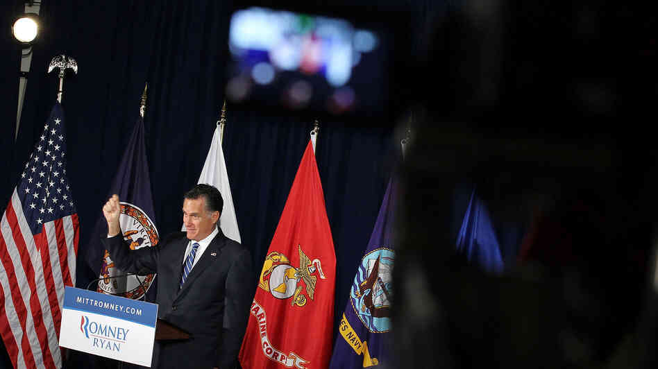 Mitt Romney speaks Thursday at American Legion Post 176 in Springfield, Va.