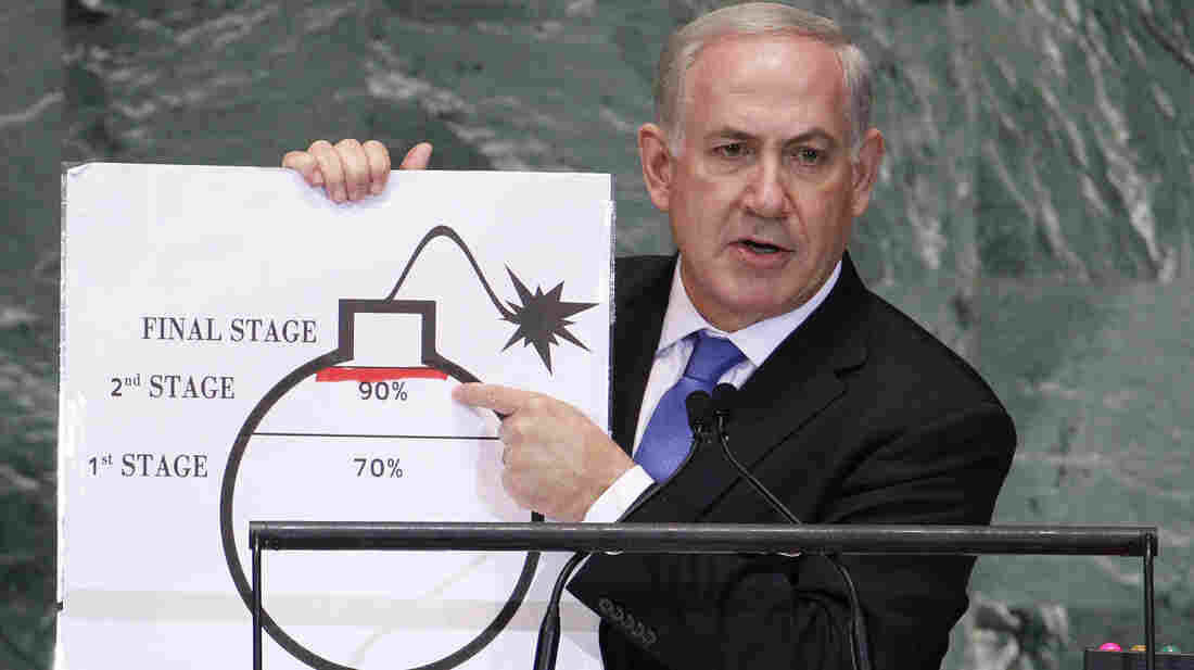 At the U.N. today, Israeli Prime Minister Benjamin Netanyahu used a graphic to show how far he says Iran will be by mid-2013 in a quest to develop nuclear weapons. He drew the red line to mark where he says Iran must be stopped.