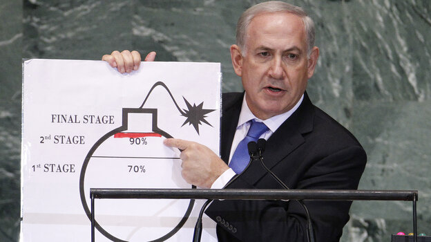 At the U.N. today, Israeli Prime Minister Benjamin Netanyahu used a graphic to show how far he says Iran will be by mid-2013 in a quest to d