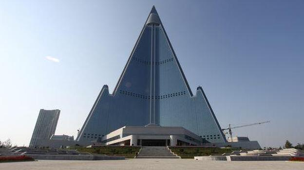 The Ryugyong Hotel, from the front. (Koryo Tours)