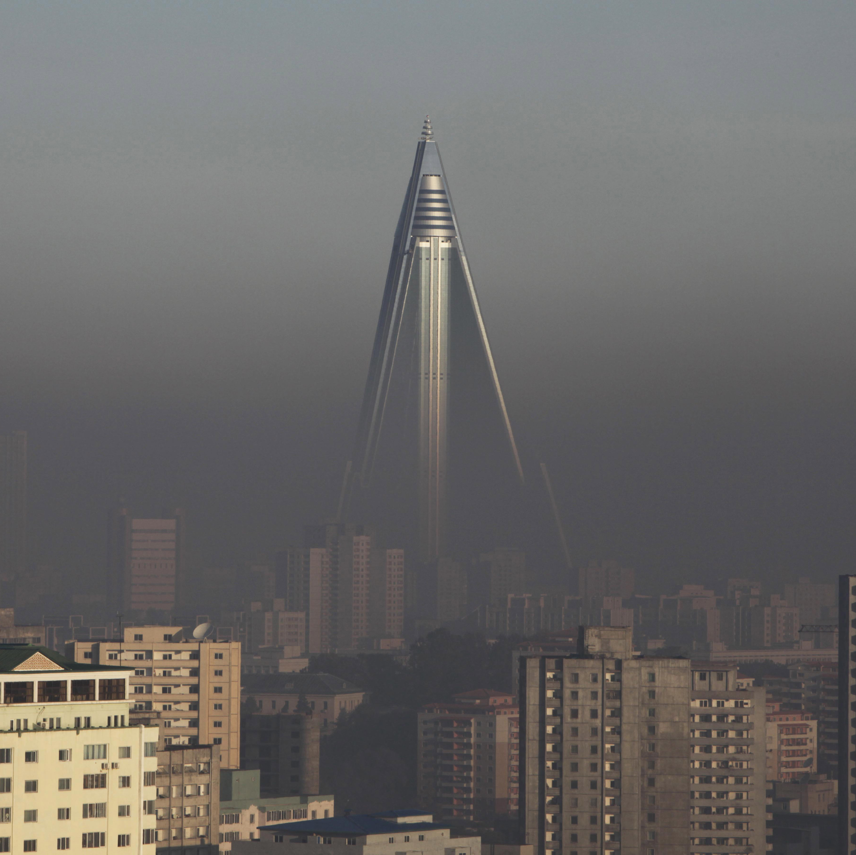 In 2011, The Associated Press released this image of the hotel rising above the smog covering Pyongyang.