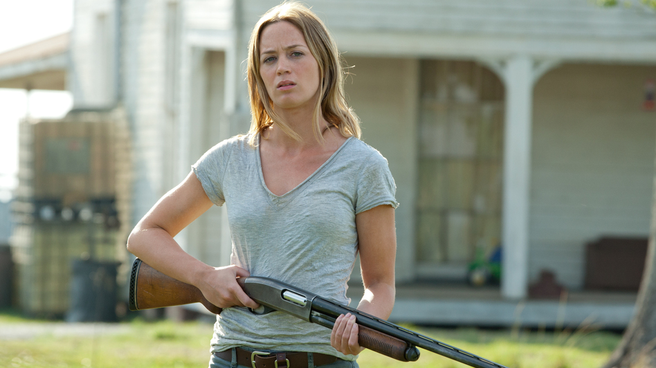 Sara (Emily Blunt) is a single mom who's learned to stand her ground to protect her home — and her young son. (Sony Pictures)
