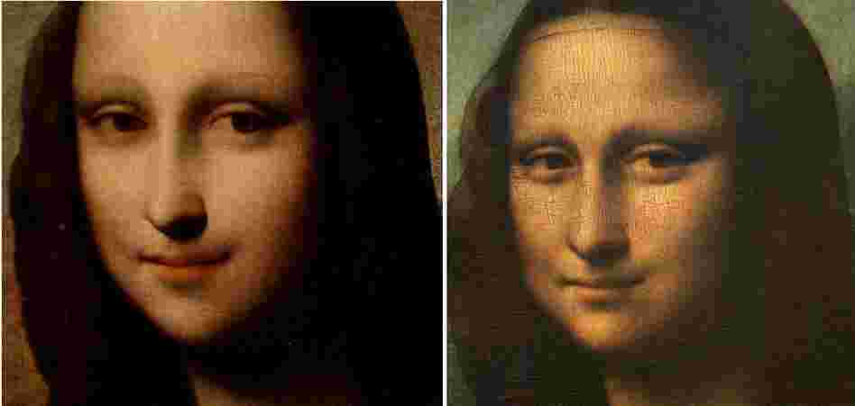 "The image that may be an earlier ""Mona Lisa"" is at left. A closeup from the work hanging in the Louvre is beside it."