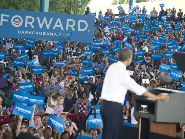 President Obama told supporters in Virginia Beach, Va., Wednesday that he seeks a new economic patriotism.