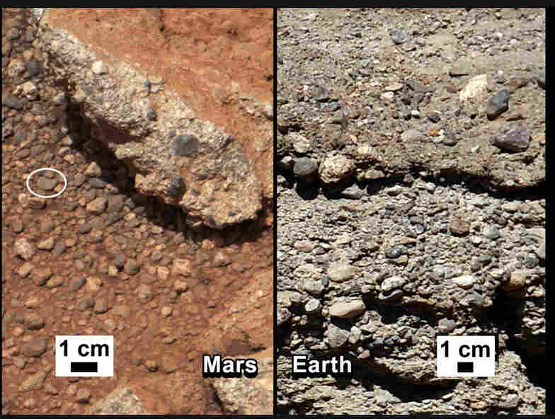 Curiosity, 2012: NASA says that water shaped the rocks on the left, in a photograph taken by the Mars rover Curiosity. For comparison, the agency released an image of rocks from the Earth (right).