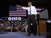 President Barack Obama speaks at a campaign event at Ohio's Kent State University on Wednesday.