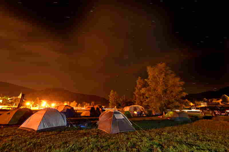 A starlit sky descends upon the campsite in the small village of Autrans, France, where the expedition prepares to descend the Gouffre Berger.