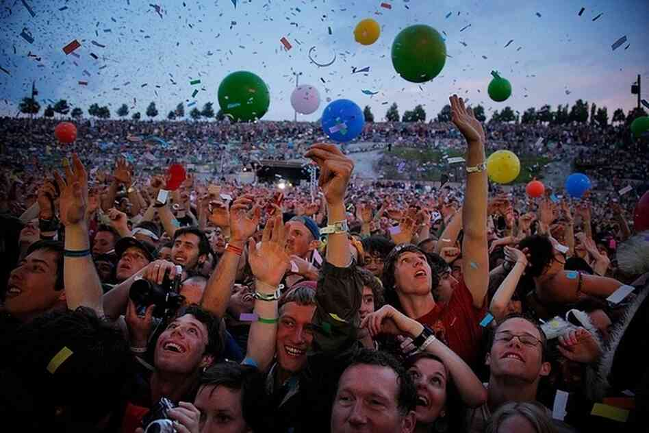 A view of the crowd during the Flaming Lips' performance at the 2011 Sasquatch Music Festival.