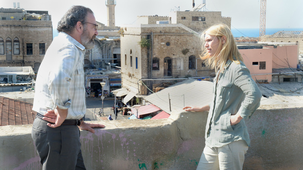 A phone call from her former boss, Saul (Mandy Patinkin), delivers Carrie Mathison (Claire Danes) back into the action of Homeland's second season. (Showtime)