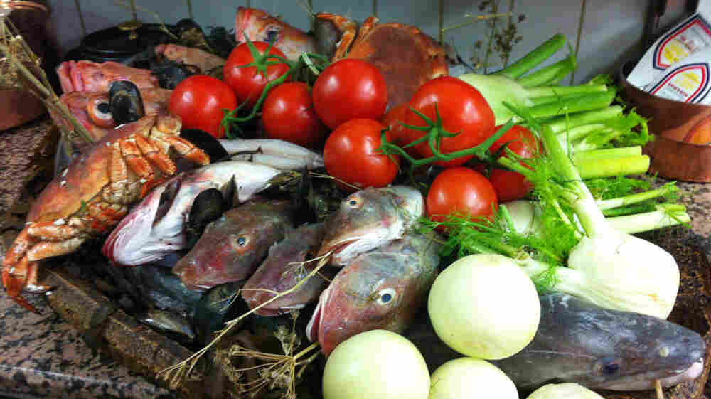 The ingredients for a vrai bouillaibaisse at Le Miramar in Marseille, France.