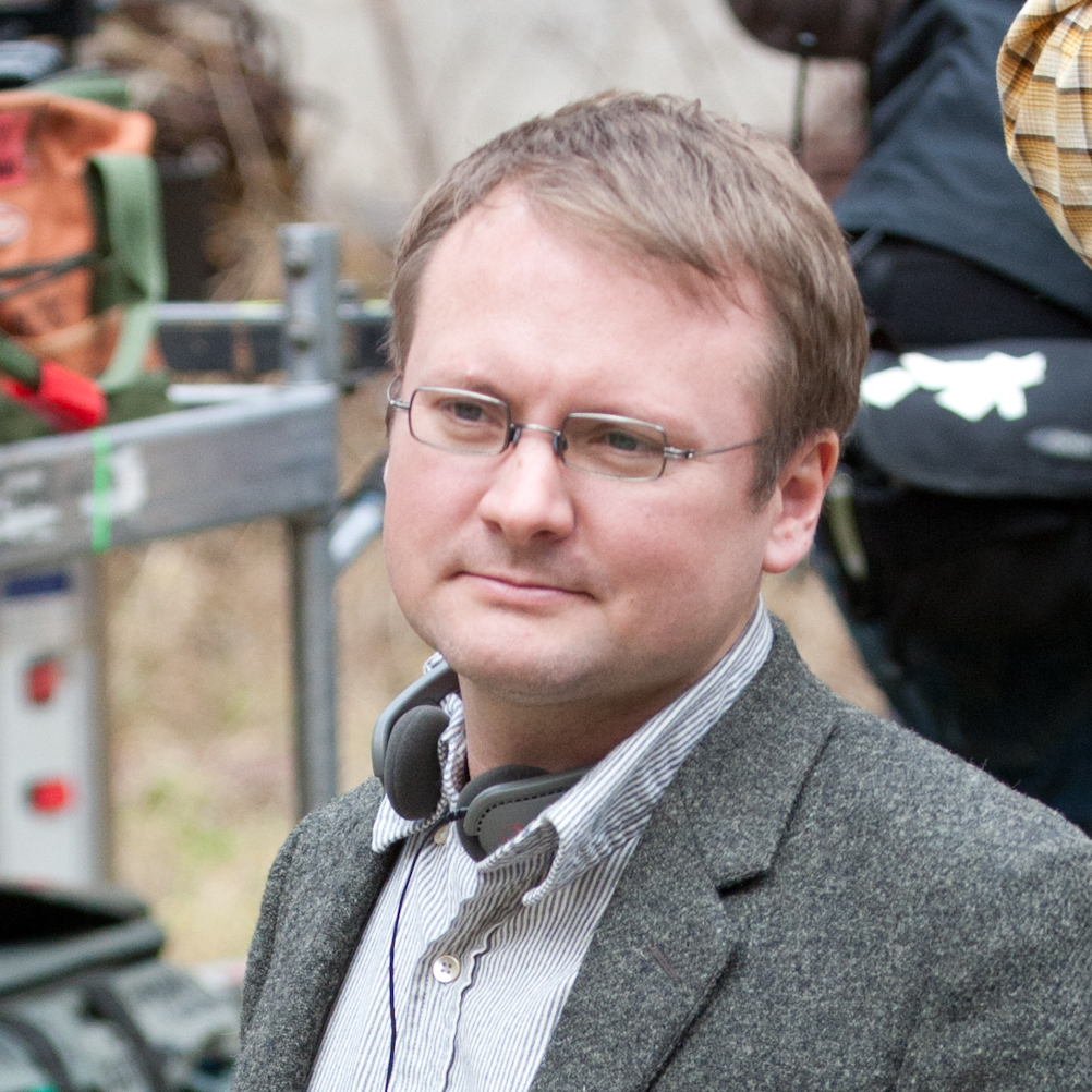Director Rian Johnson on the set of Looper.