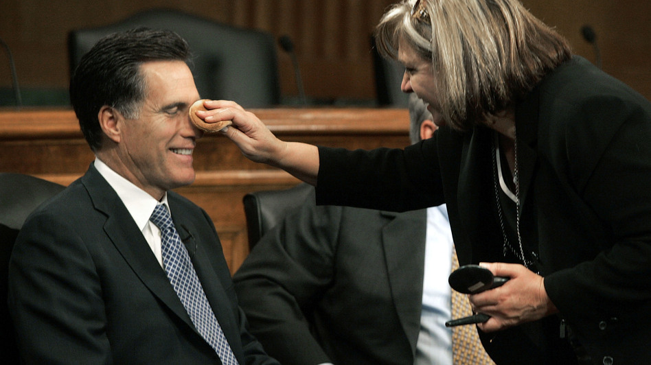 Mitt Romney has makeup applied before a discussion on Capitol Hill on Sept. 14, 2005. (Getty Images)