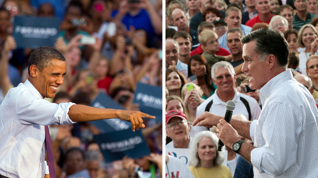 President Obama and Mitt Romney campaign in August: Obama in Leesburg, Va.; Romney in Waukesha, Wis. (AP)
