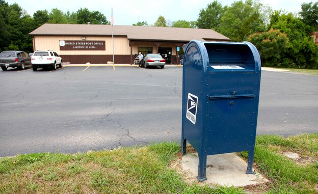 A mailbox outside a post office in Lawrence, Mich.