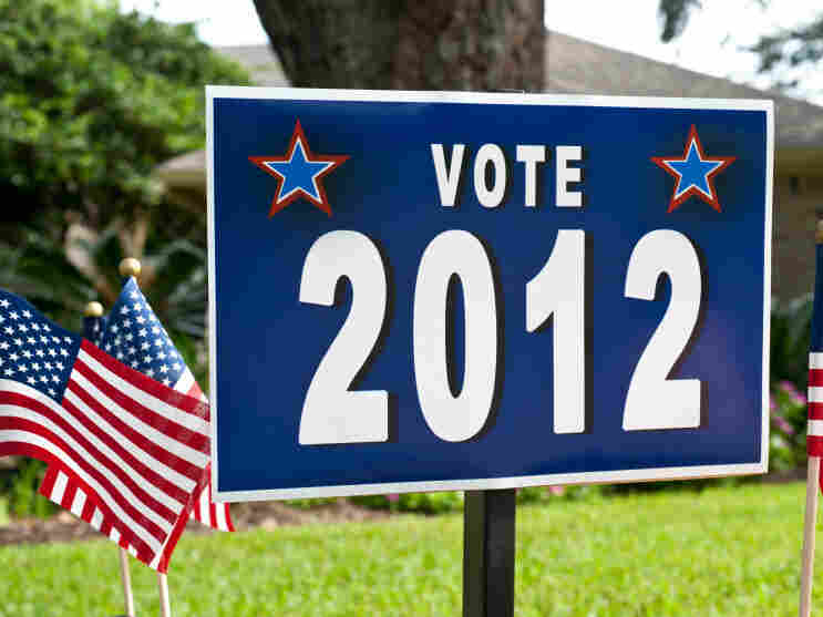 Vote 2012 sign on a front lawn.