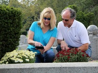After placing the QR code on her grandparents' gravestone, Lorie and Rick Miller share a tribute to her grandmother online.