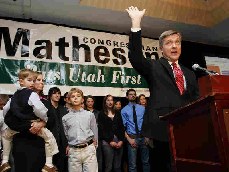 Utah Rep. Jim Matheson gave a victory speech after winning re-election in November 2010. He has consistently broken with Democratic Party lines and beat Republican challengers.
