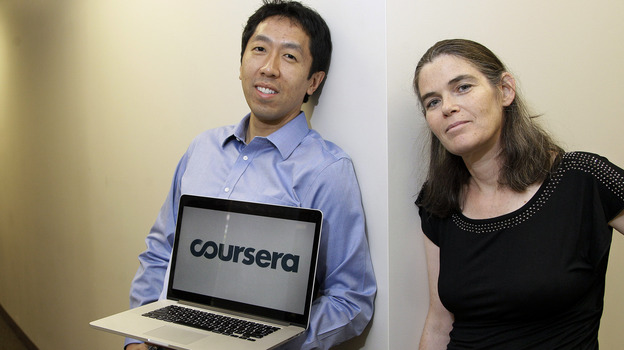 Coursera founders Andrew Ng and Daphne Koller are computer science professors at Stanford University. (AP)