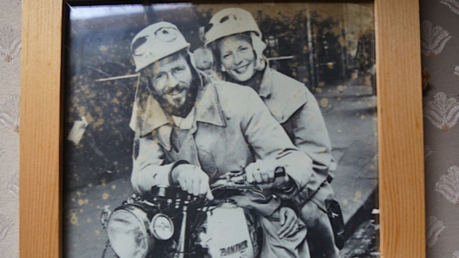 "Geoff Mack, who wrote ""I've Been Everywhere,"" and his wife, Tabby Garmisch, take to the road. (Hal Cannon)"