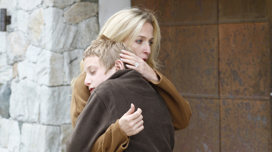 Gillian Anderson, a single mother of two vacationing in the opulent Swiss Alps, feels compassion toward a 12-year-old thief. (Adopt Films)
