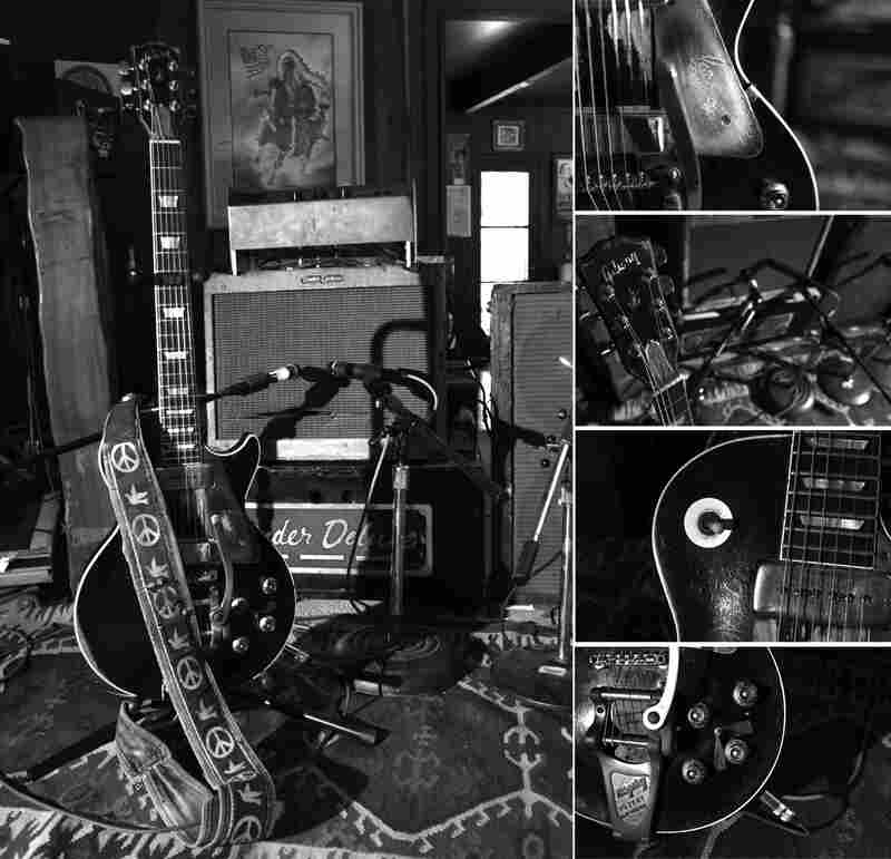 Neil Young's faithful guitar, Old Black, and his amps in 2012.