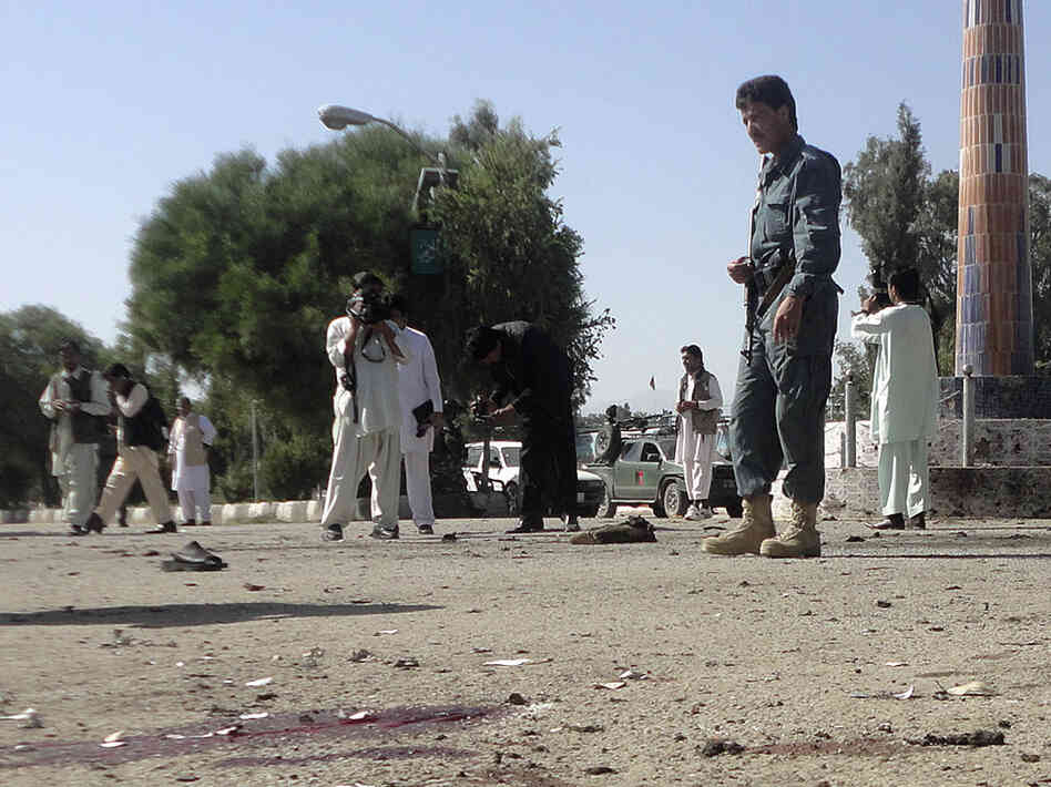 Blood stained the ground at the scene today in Khost, where a suicide bomber struck.