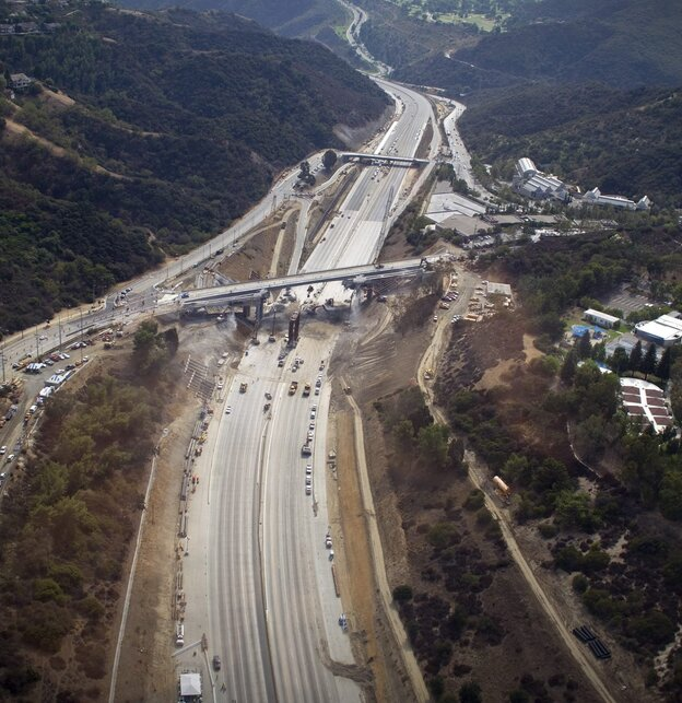 All clear: A section of the 405 freeway in Los Angeles was empty while crews worked over the weekend to demolish the Mulhollan