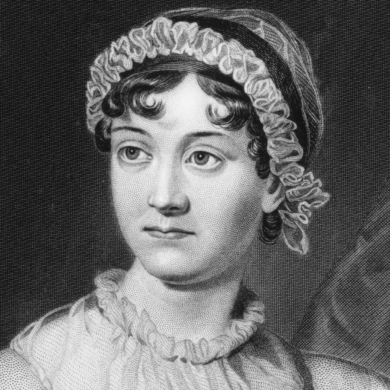 English novelist Jane Austen from an original family portrait.