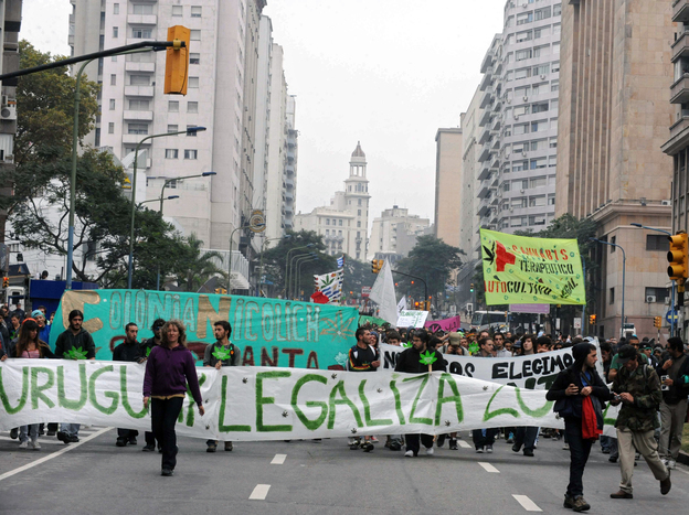 Supporters of legalization of cannabis in Montevideo march toward the Legislative Palace in May as part of the 2012 Global Marijuana March. (AFP/Getty Images)