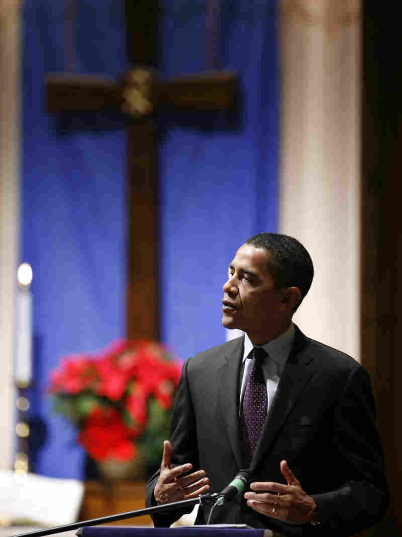 Then-candidate Barack Obama speaks at the First Congregational United Church of Christ in Mason City, Iowa, in 2007. Religious messages were a more prominent part of Obama's first presidential campaign.